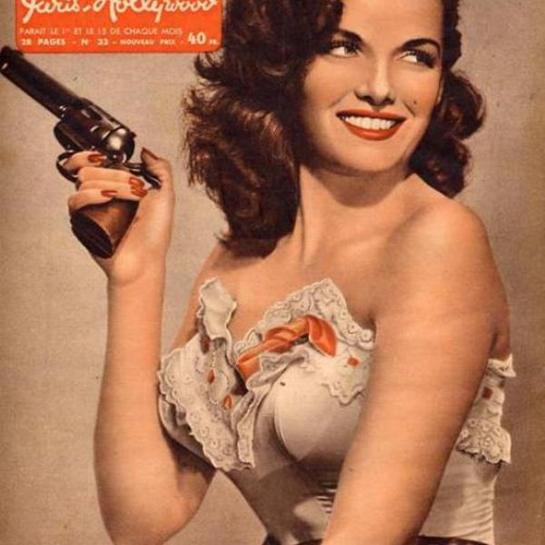 Vintage paris hollywood pinup jane russell with guns