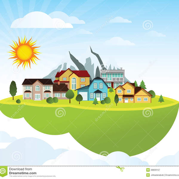 Flying island village vector illustration green mountains background 38809157