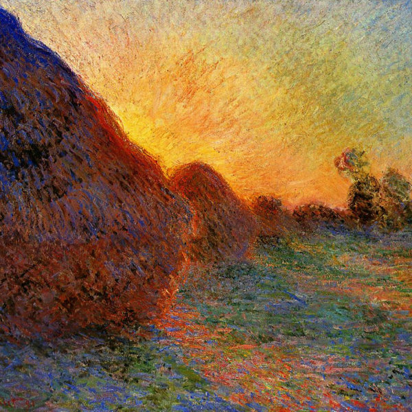 Monet haystacks at sunset 1890