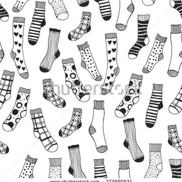 Stock vector seamless black and white pattern of doddle socks for coloring book 372990931