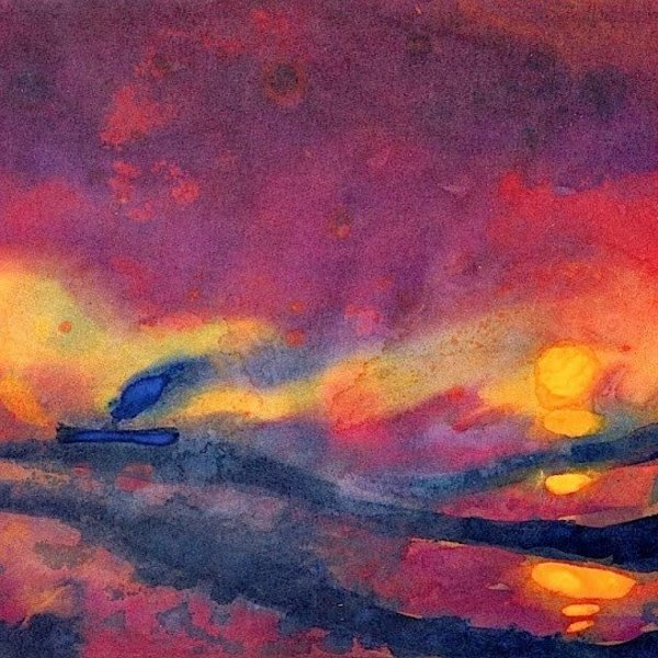 Emil nolde red sea with setting sun and steamship 1946