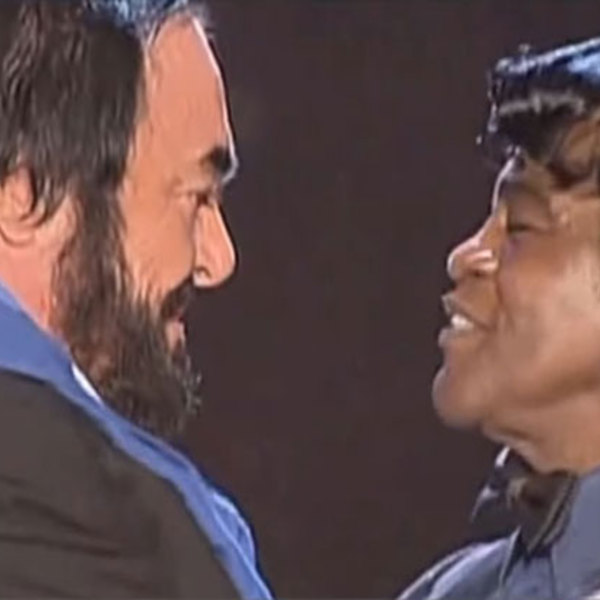 Pavarotti james brown duet mans world performance pavarotti and friends