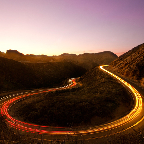 Lights on a mountain road long exposure ultra 3840x2160 hd wallpaper 1522313