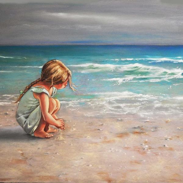 Little girl on a beach ed hicks
