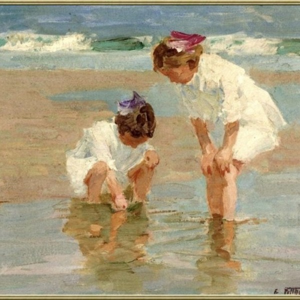 7 edward henry potthast girls playing in surf
