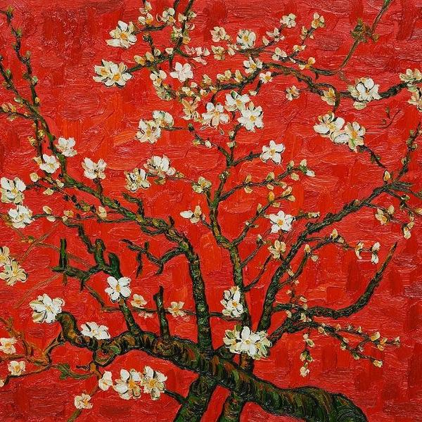 Branches of an almond tree in blossom in red