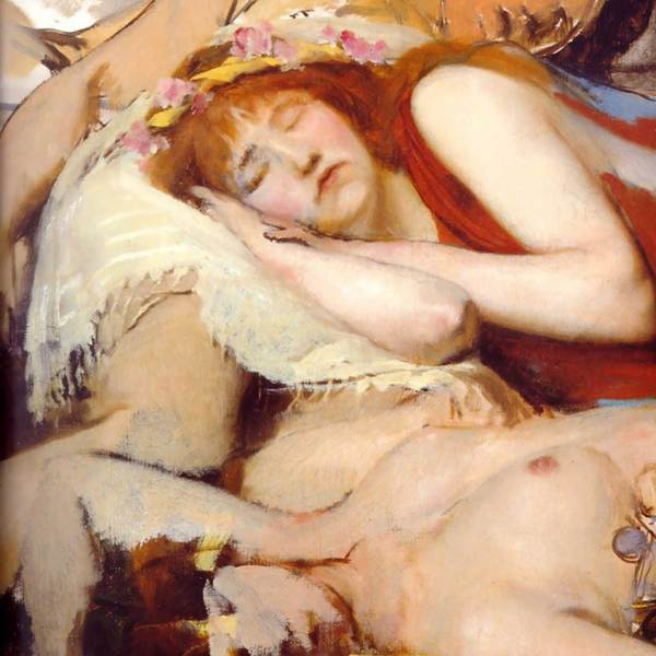 Alma tadema      exhausted maenides after the dance (detail  unfinished)