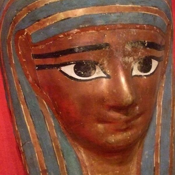 Mummy mask egyptian 1st 2nd century cartonnage pigment and gold leaf 400751509