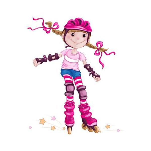 A girl in a pink helmet and protective accessories rollerblading children in the sport skate on roller skates cartoon vector character
