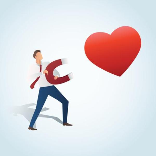 Man attracting the heart with a large magnet vector illustration