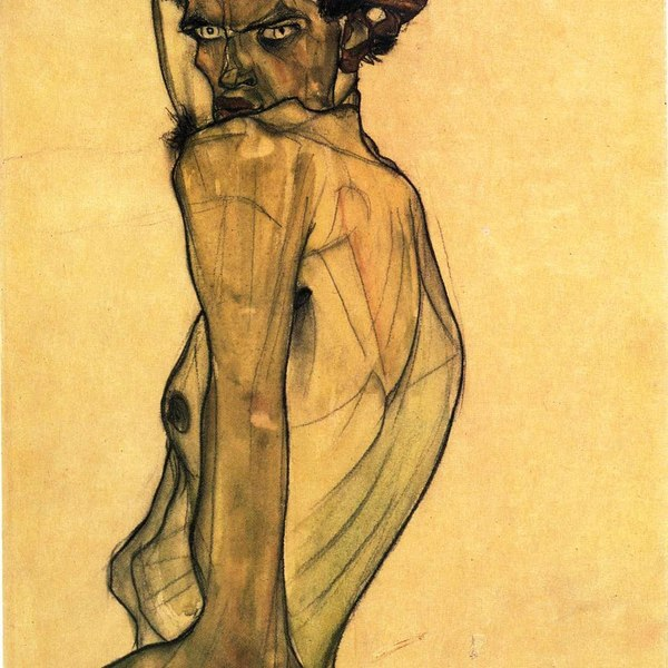 Self portrait with arm twisted above head (1910)  egon schiele